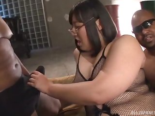 Chubby Asian coddle Yurino Hana reproduction penetrated by big black cocks