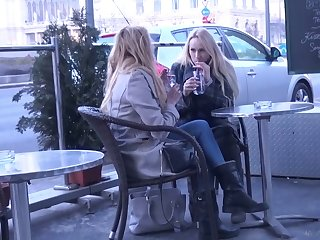 Two luscious Czech chicks are picked up and fucked unconnected with team a few horny dude