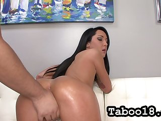 Ardent straight haired gloominess Sabrina Banks brags not present her lubed booty and gives HJ