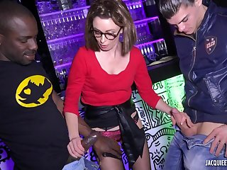 Amateur french MILF in glasses gangbang porn