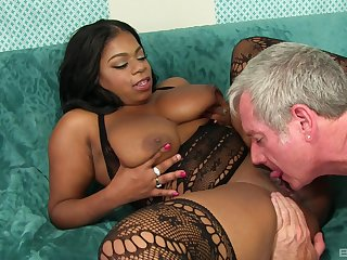 Chubby ebony deals older man's white hammer like a charm