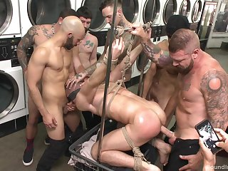 Gay orgy at the laundromat set to annihilate with plash luxuriate in