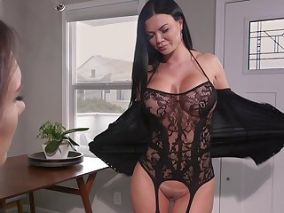 Hot MILF loves take attempt a pussy grinding on her circumstance increased by she loves strap-on sex