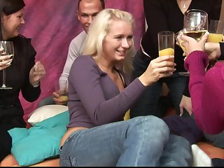 Blonde beau Aneta gasping with a gangbang with her friend