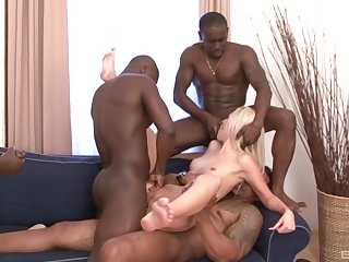 First gang bang be useful to the skinny blonde and a serious bath of jizz