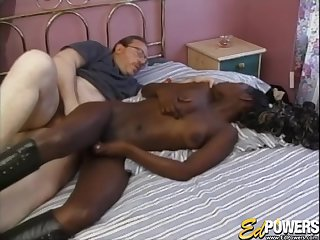 Interracial fucking on the bed with ebony chick Layla Gates