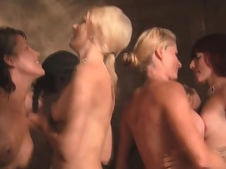 Softcore swinger threesome in the shower