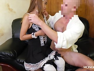 Asian escort Jennie puts on X maid uniform and gets fucked by horny tourist