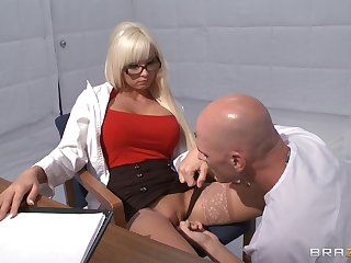 Horny blonde Rikki Six takes a dick in will not hear of mouth and love tube