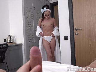 Asian girlfriend Liloo sucks his dick and spreads legs be required of anal