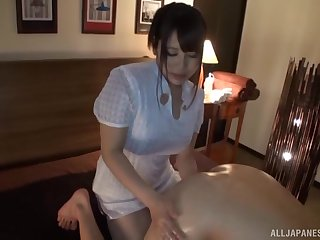 Sleeping guy gets woken up when Mion Hatsuki strokes his penis