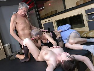 Aged guy puts his dick in wet pussies be advantageous to Yvonne with an increment of Lucie Jenilova