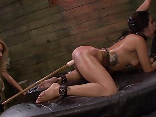 Lezdom BDSM session for sexy girls Isa Mendez, Mila Holocaust and Ava Kelly