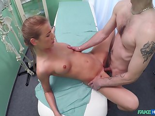 Fantastic sex with the doctor for this slim amateur
