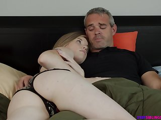 Naughty step daughter Nikki Lovable rides will not hear of step dad strong cock