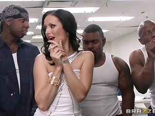 Wild interracial gangbang with double bottomless pit for Hailey Young