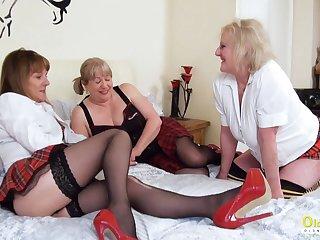 OldNannY Lesbian Mature Pussy Rubbing away Triple